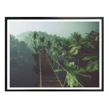 Poster - Hängebrücke im Dschungel