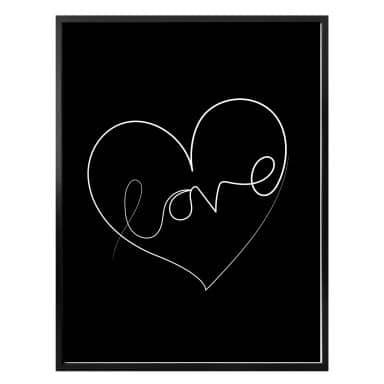 Poster Hariri - Love Lines - Black/white
