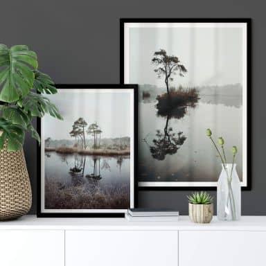 Poster-Set mit Bilderrahmen Herbstidylle (2er Set)