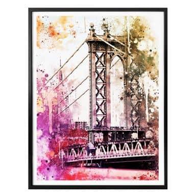 Poster Hugonnard - Watercolour: New York Bridge