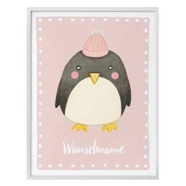 Poster Loske - Pinguin - rosa + Wunschtext