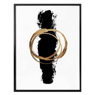Poster Kubistika - Schwarz und Gold