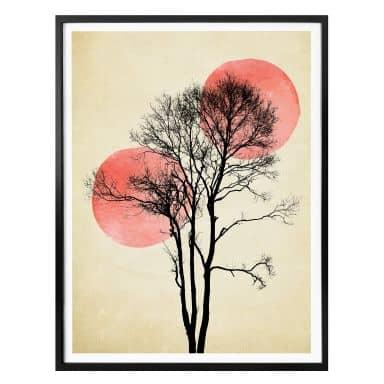 Poster Kubistika - Sonne und Mond hinter dem Baum