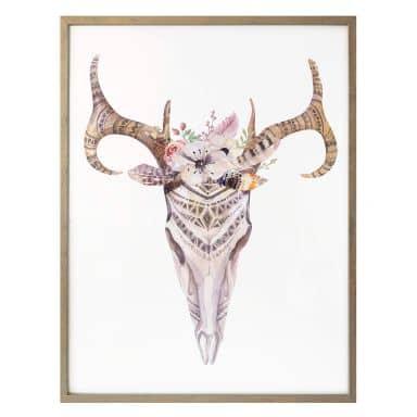 Poster Kvilis - Boho Skull Feder