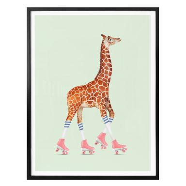 Poster Loose – Rollerskating Giraffe