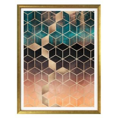 Poster Fredriksson - Gold Green Geometry