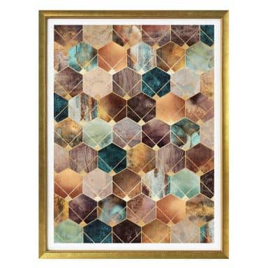 Poster Fredriksson - Hexagons - Gold and Copper