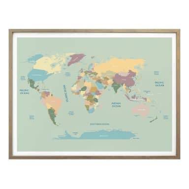 Poster - Carte du monde vintage