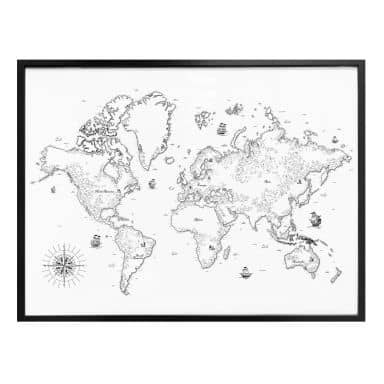 Poster Weltkarte - Aus vergangenen Zeiten