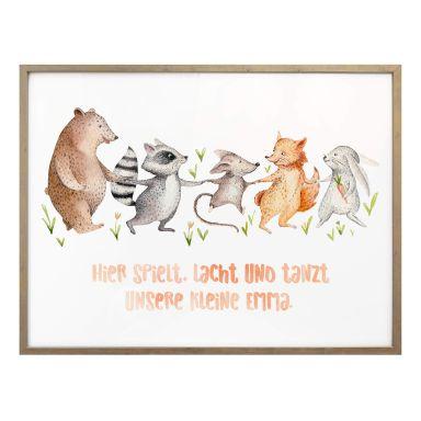 Plakat personlig tekst Kvilis - Hier spielt, lacht und tanzt unsere kleine + eget navn