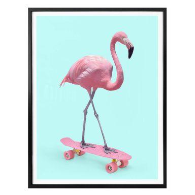 Affiche Fuentes - Flamant rose sur skate