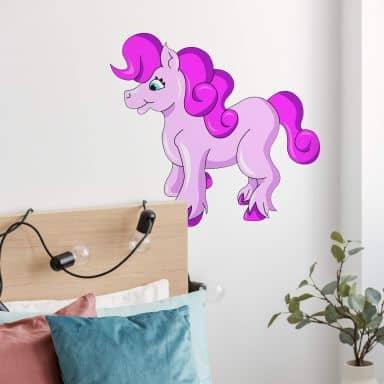 Muursticker Roze Pony