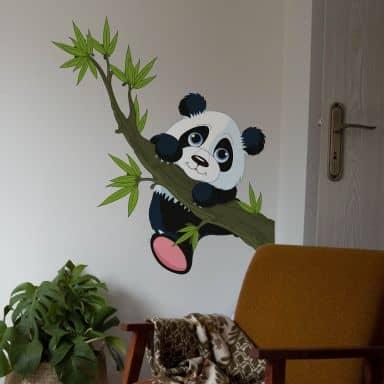 Sticker mural - Panda grimpant à l'arbre