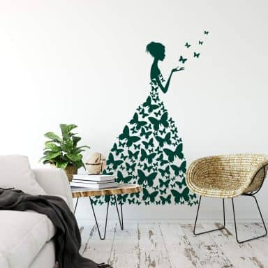 Lady with Butterflies Wall sticker