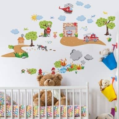 Sticker mural - Set de pompiers