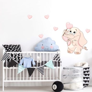 Baby Elephant with Heart Wall Sticker