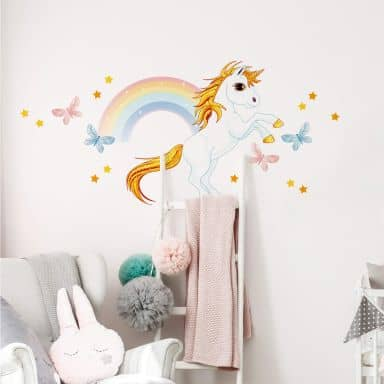Sticker mural - Unicorne avec arc-en-ciel