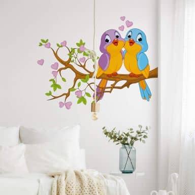 Muursticker Verliefde Vogeltjes