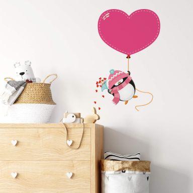 Adesivo murale - Pinguino con palloncino a forma di cuore