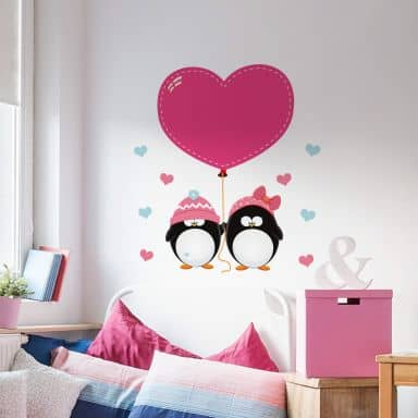 Penguins with Hearts - Wall Sticker