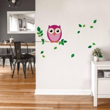 Sticker mural - Chouette rose