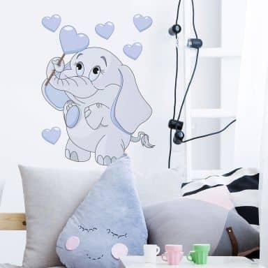 Sticker mural - Bébé éléphant aveccœurs