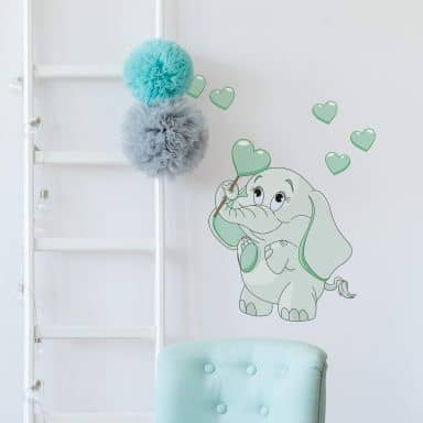 Elephant Baby with Hearts (Green) Wall Sticker