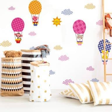 Sticker mural - Animaux rigolos dans une montgolfière (set)