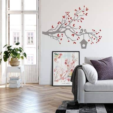Loving Sparrows with a Bird House Wall sticker