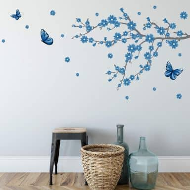 Blue Ice Blossoms with Butterflies Wall Sticker