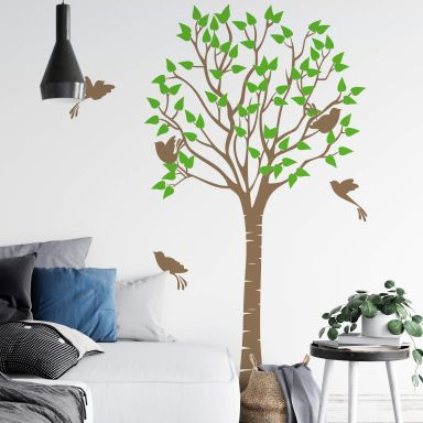 Wall sticker Tree with Birds 2-colours