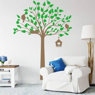 Wall sticker Tree with birdhouse 2-colours