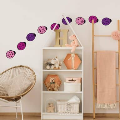 Pink Ladybug Set Wall sticker