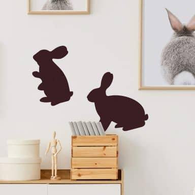 Sticker mural - Deux Lapins