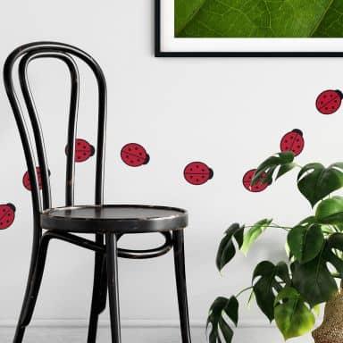 Sticker mural - Set Coccinelles Rouge