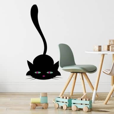 Black Cat Lurking Wall sticker