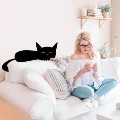 Black Cat Sleeping Wall sticker