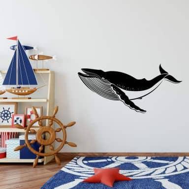 Sticker mural - Baleine bleue