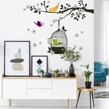 Wandtattoo Vögelchen im Baum