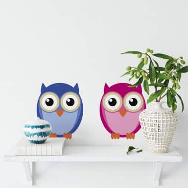 Einstein Owl and Mrs. Owl Wall sticker