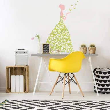 Lady with Butterflies (green) Wall sticker