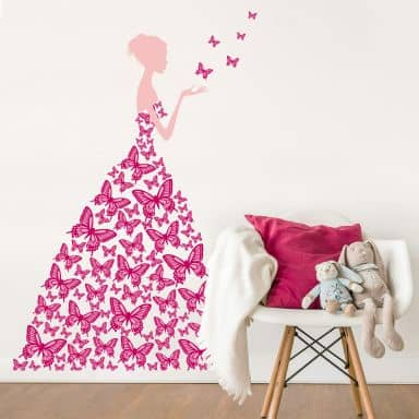 Sticker mural - Lady with Butterflies-rose fuchsia