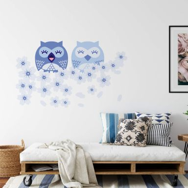 Cute Owls Blue Wall sticker