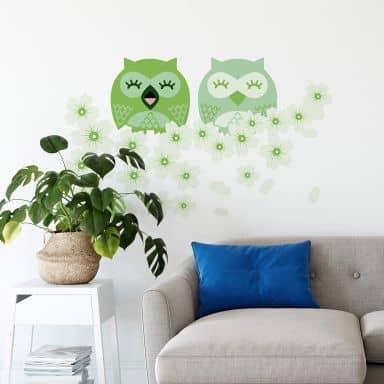 Cherry owls green Wall sticker