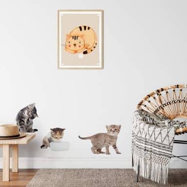 Sticker mural - Set de bébés chats 01