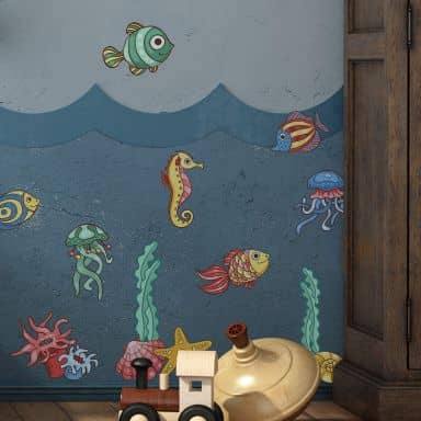 Sticker mural - Poissons multicolores