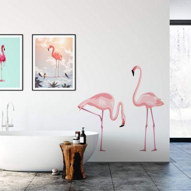 Muursticker Prachtig Flamingo Paar
