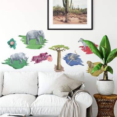 Wall sticker set Watercolour Safari