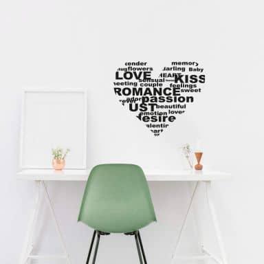 Wandtattoo Herz Romance