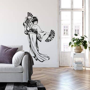 Adesivo murale - Geisha che danza coi ventagli